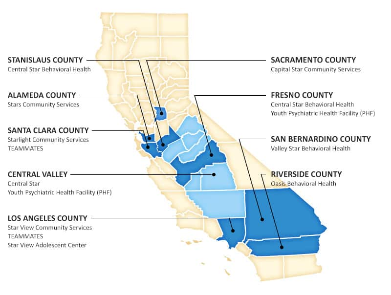 Bhucc About Us Stars Behavioral Health Group - Central-valley-on-us-map